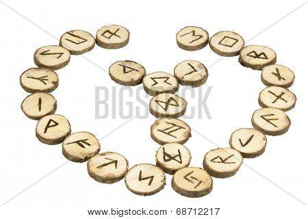 Arrangement Of Handmade Wooden Runes With Nordic Symbols