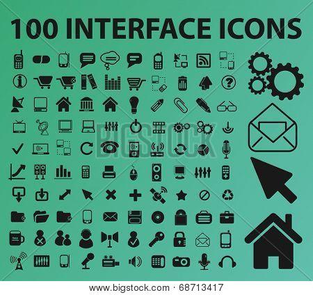 100 interface icons, signs, symbols set, vector