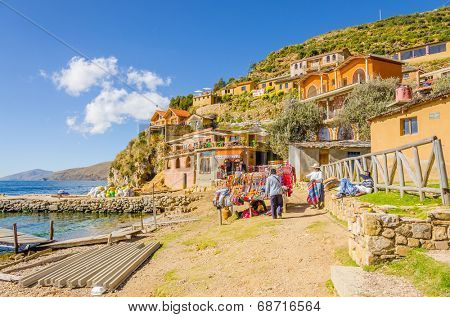YUMANI, BOLIVIA, MAY 7, 2014 - General view of port on Isla del Sol (Titicaca lake)