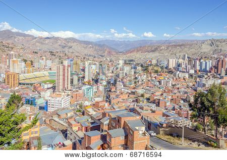 LA PAZ, BOLIVIA, MAY 8, 2014 - General view of town from a view point