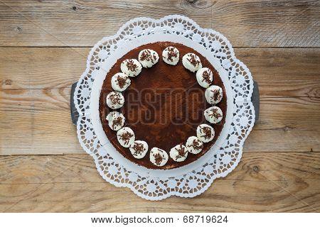 Tiramisu Cake On Raw Wood Rustic