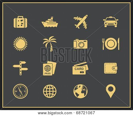 Travel and tourism icon set. Traveling, journey and voyage symbols and signs
