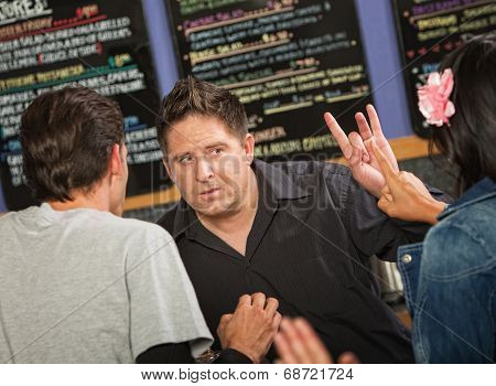 Cafe Owner With Rude Customer
