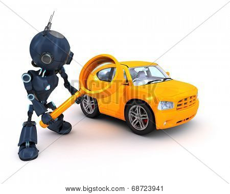 3D Render of an Android searching for a car