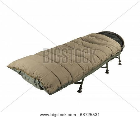 Camp bed with sleeping bag