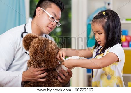 Girl With Bear At Doctor's Office