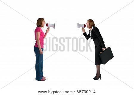 Women With Megaphones Shouting Isolated