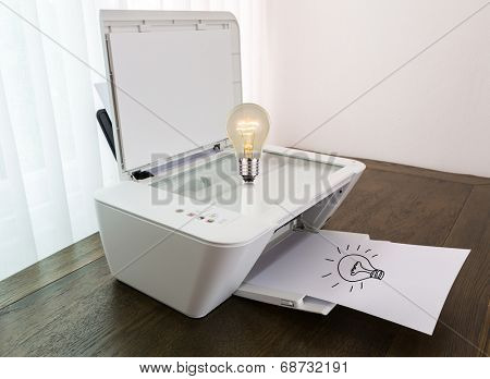 Printer with Bulb for idea on paper