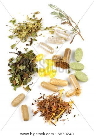 Suplemento de ervas pílulas