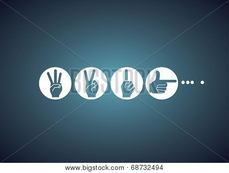 hand sign, loading bar