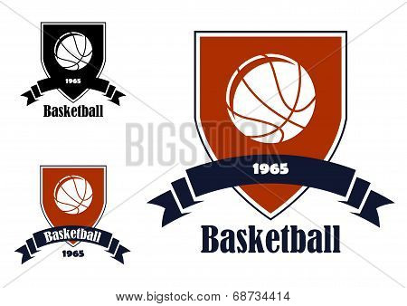 Basketball sports emblems and symbols