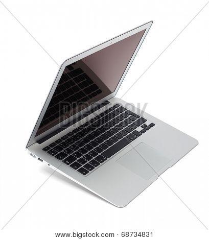 Thin aluminium laptop, white background