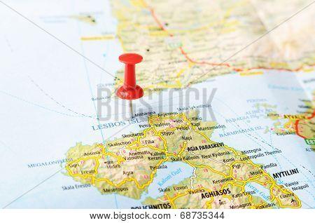 Lesbos  Island Greece Map