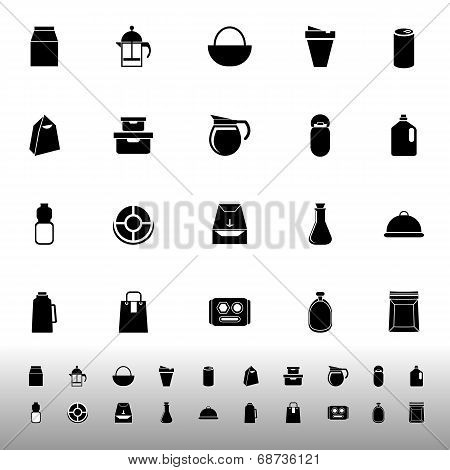 Variety Food Package Icons On White Background
