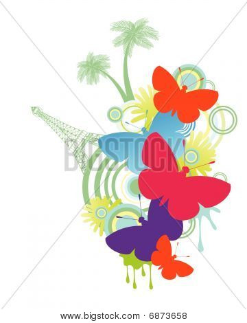 Butterflies  With Tower And Palm Trees