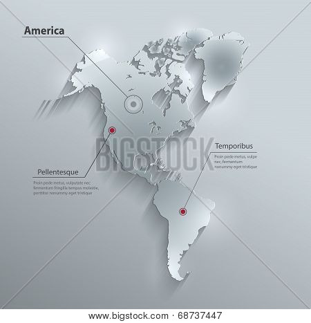 America map continent glass card paper 3D water vector