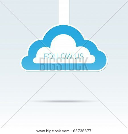 Trendy follow us cloud icon tag