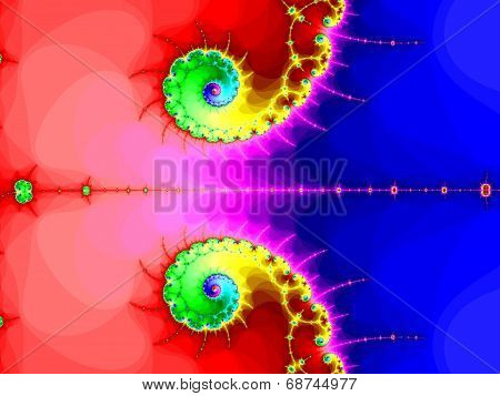 Double fractal spiral in a bright colors