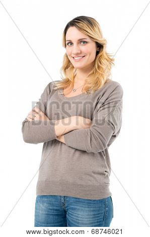 Portrait Of Serene Woman Looking At Camera Isolated On White Background