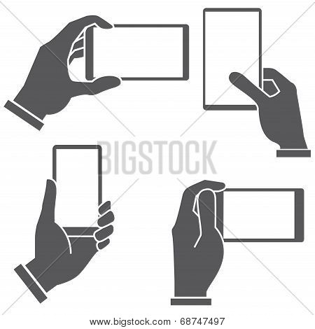 hand holding and touching smartphone