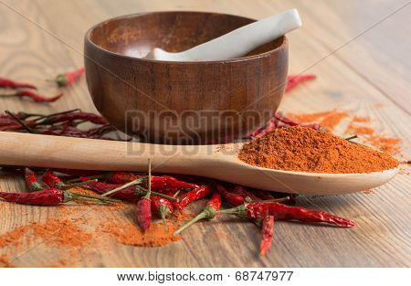 Red Hot Pepper Chili Powder In A Mortar And Pods