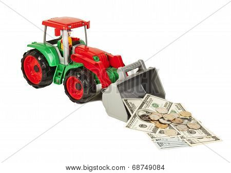 Red And Green Toy Bulldozer With Dollars And Euro