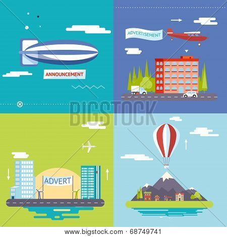 Advertisement Commercial Promotion Poster Symbols airplane balloon city village mountains sky clouds