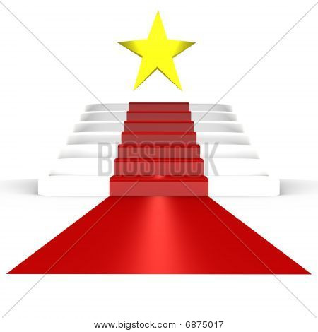 Red carpet for the stars - a 3d image