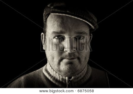 Portrait Black White Of Overweight Male On Black