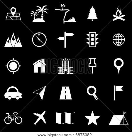 Location Icons On Black Background