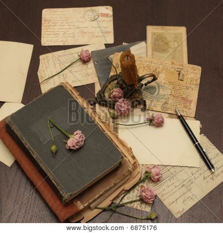 Vintage Background With Books, Postcards, Photo