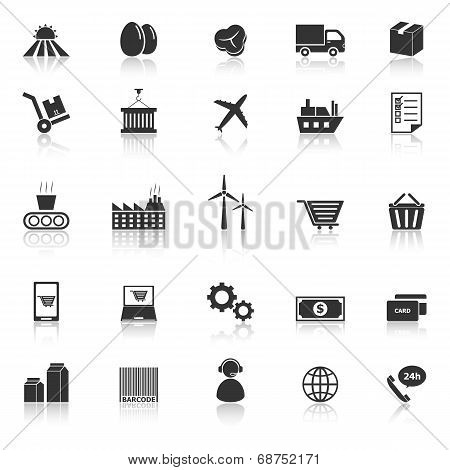 Supply Chain Icons With Reflect On White Background