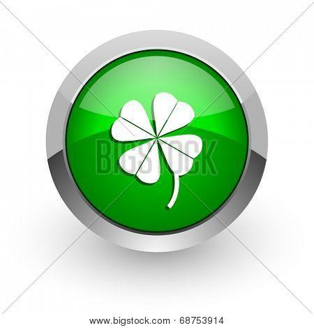 four-leaf clover green glossy web icon