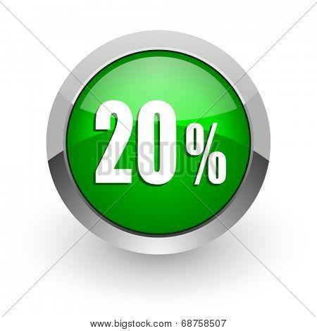 20 percent green glossy web icon