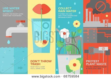 Water Savings Flat Banner Set