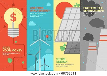Energy And Power Savings Flat Banner Set