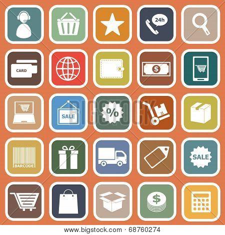 E-commerce Flat Icons On Orange Background