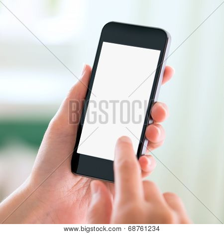 Modern Smart Phone In Hands With Blank Screen