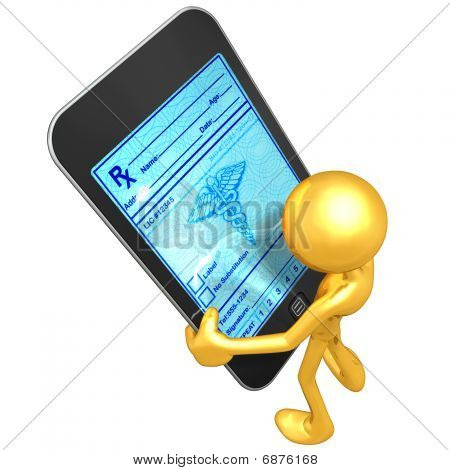 Gold Guy Holding Touch Screen Device Health