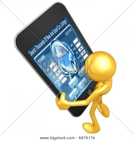 Gold Guy Holding Touch Screen Device Automotive
