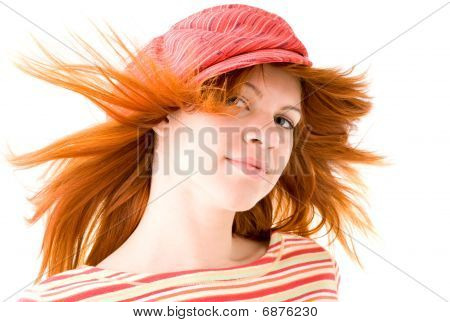 Redhead Girl In Striped Hat