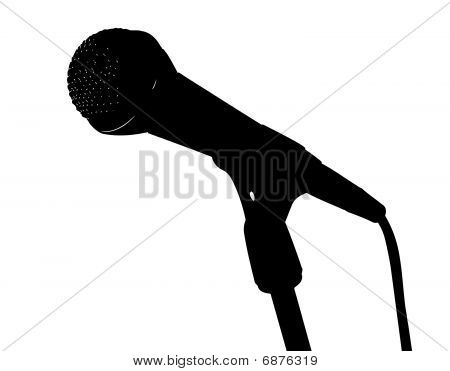 Vector silhouette of microphone on stand