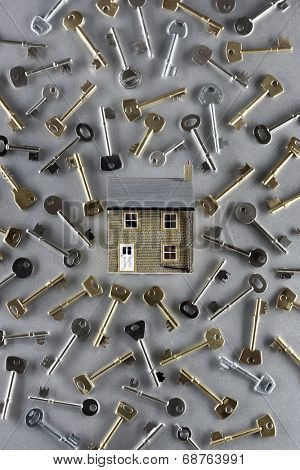 Model house and large group of keys
