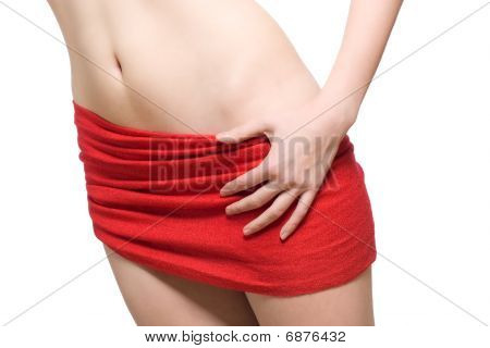 Red Scarve Wrapped Around A Womens Hip