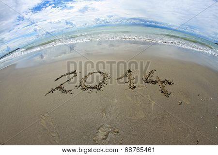 2014 Year Written On The Sea Beach