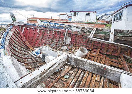 Shipwreck On Old Boat Scrap Yard.