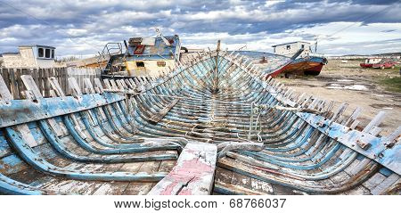 Shipwreck On Old Boat Scrap Yard.