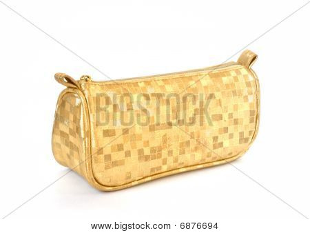 Golden Female Bag Isolated On White Background