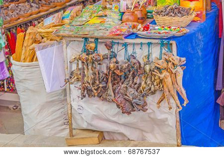 LA PAZ, BOLIVIA, MAY 8, 2014 - Dried animal fetuses as amulets, Witches Market,