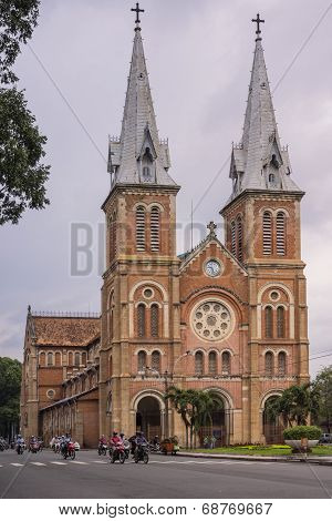 Catholic Cathedral Of Notre Dame In Saigon.